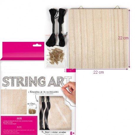 PW-SOL Kit Tabelle String Art Quadratisch, neutral, Nägel und Sohn, Abm. 22x 22x 0,9cm, zu querformatig Aufhängen Willst
