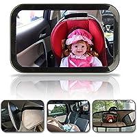 Hillington ® Large Wide View Rear Baby Child Car Seat Safety Mirror Adjustable Headrest Mount- 360 Degree Adjustability , Premium Quality