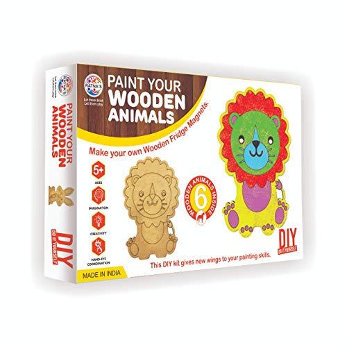 RATNA'S Premium Quality Paint Your Wooden Fridge Magnets for Kids/Adults. (Paint Wooden Animals)