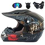 Gnohnay Motocross Helm Herren Orange und Schwarz, Motorrad Crosshelm mit Visier Brille Handschuhe...