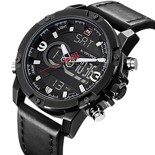 Montre de Sport analogique numérique pour Homme à Double Affichage de l'heure, en Cuir Noir, argenté, étanche, lumière chronographe Alarme Date, Montre-Bracelet