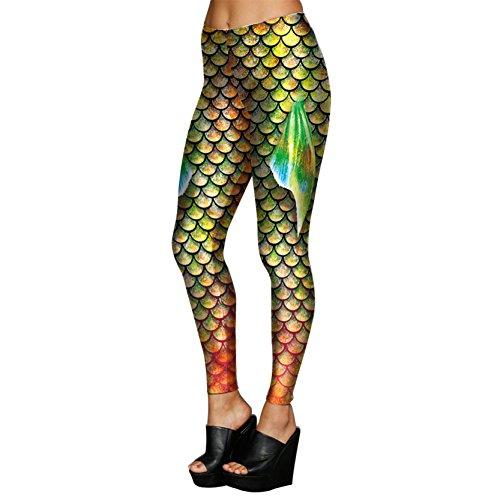 Vivid Fish Fin Digital Drucken Shaping Atmungsaktiv Leggins Für Frauen Mädchen L