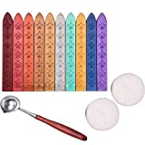 Antique Sealing Wax Sticks Set without Wicks Retro Spoon and Candles for Retro Vintage Wax Seal Stamp, 13 Pieces