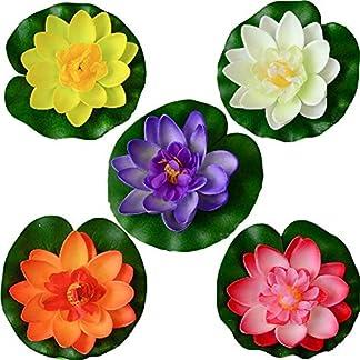 Wohlstand flotantes Flor 5pcs,Lirio de Agua Artificial Flotante Estanque de Flores se Aplica a San Valentín día de la Boda acuarios Decoración 10cm