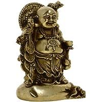 Arte buddhista metallo ottone Ridere statua di buddha sorridente Altezza 15,24 cm