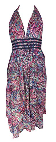 Sunrose Allover Printed Cotton partywear backless dress