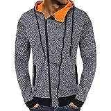 KPILP Herren Mode lässig Herbst Solide Knöpfe Reißverschluss Kapuzen-Sweatshirt Outwear Oberteile Bluse Sportbekleidung(Grau, XL)