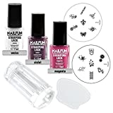 Stamping Set SHOPPING DREAM - Clear Jelly Stamper transparent + Scrapper + Stampinglack Weiss 11ml + Stamping-Lack Violet 11ml + Stamping Lack Magenta 11ml + KONAD Stamping Schablone M15 + KONAD Stampingschablone M16