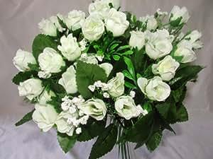 A1-Homes - Mazzo di 60 rose finte decorative, in seta, colore: panna/avorio
