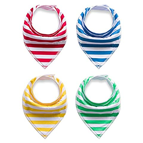 Baby Bandana Drool Bibs, Unisex 4-Pack Gift Set for Drooling and Teething, 100% Organic Cotton, Soft and Absorbent, Hypoallergenic - for Boys and Girls by