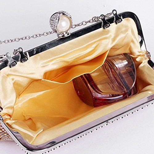 Stilvoll Frauen Mit Nieten Strass Hochgradige Handtasche Geldbörse Gold