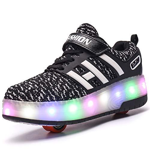 Unisex Kinder Mode LED Schuhe mit Rollen Drucktaste Einstellbare Skateboardschuhe Outdoor Gymnastik Turnschuhe Für Junge Mädchen (33 EU, Schwarz 803)