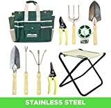 GardenHOME 10 Piece Garden Tool Set - Folding Stool, Storage Bag, 5 Heavy Duty Stainless Steel Garden Tools, 2 Pruners and 1 Roll of 100 feet (30 meter) Plant Twist Tie