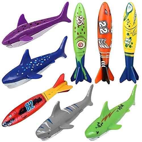 Akokie Torpedo Dive Sticks 8 PCS Unterwasser Schwimmbad Bandits Pool Tauchspielzeug tauchset Kinder ab 6 7 8 (Kinder-pool-stick)