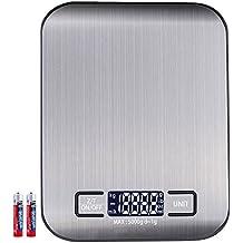 Báscula digital de cocina anbero Industrial Digital Báscula Báscula electrónica, 5 kg máximo peso (alta precisión a hasta 1 G), función de tara, con 5 unidades de pesaje (g, kg, IB, oz, ML) y gran pantalla LCD, incluye batería