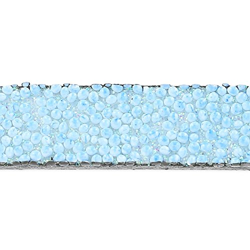 Cordón plano cuero 10 mm efecto Caviar Azul Pastel x50cm