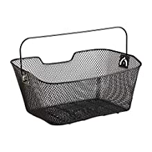 Relaxdays, Black Bicycle Basket, Close-meshed, Handle, Removable, Back Wheel Carrier, H x W x D 19 x 41 x 30 cm