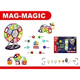 Happy GiftMart DIY 58 Pieces 3D Magical Magnetic Construction Stacking Building Block Set Learning & Creativity Puzzle Game Educational Toy Set Gel Mag Gelmag