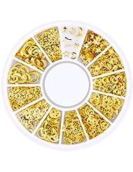 Ruiting 200 Stk 3D Mini Nagel Kunst Bolzen Aufkleber Glitter Metall Charme Nail Zubehör Modische DIY Nagel Schönheits Dekoration Stern & Moon Series Beauty Misc
