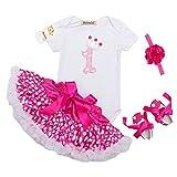 Mainaisi Baby Mädchen Geburtstag Tutu Set 4tlg Romper + Schuhe + Ballettröckchen+ Stirnband Overall Ausstattungs Party Kleid, 0-24 Monate