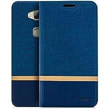 Funda Huawei GX8 (G8) [Zanasta Designs] Cubierta Carcasa Flip Case Tapa Delantera con Billetera para Tarjetas Protectora de Alta Calidad, Cierre Abatible Azul