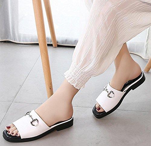 Les femmes sandales plates et pantoufles sandales d'été étudiant à semelle souple casual plat avec des sandales White