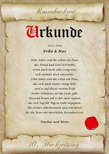 Rosenhochzeit Urkunde personalisiert Geschenk Karte zum 10. Hochzeitstag DIN A4