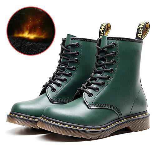 QPDUBB Stivaletti Stivali da Donna in Vera Pelle Martens Boots per Donna Casual Scarpe da Moto Dr. Pelliccia Calda Scarpe da Coppia Inv