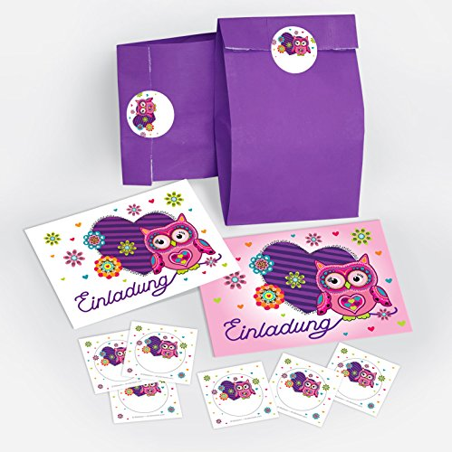 12 Einladungskarten Geburtstag Kinder Eule Herz für Mädchen incl. 12 Umschläge, 12 Tüten / lila, 12 Aufkleber Einladungen Kindergeburtstag Geburtstagseinladungen Set Partyset Kartenset Party