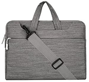 MOSISO - Tessuto Denim Custodia Borsa / Borsa a Tracolla / Ventiquattrore / Sleeve Case per Laptop / Notebook / Computer Portatile / MacBook Pro da 15-15.6 Pollici, Grigio