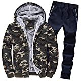 Luckycat Herren Hoodie Winter Camouflag Warm Fleece Zipper Outwear Mantel Top Hosen Sets Winterjacke Steppjacke Daunenjacke Parka Mäntel Jacken