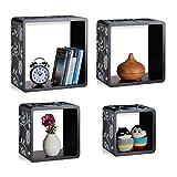 Relaxdays Cube Regale, 4er Set, Freischwebend, Schickes Blumenmuster, Runde Ecken, Stapelbar, Kinderzimmer, MDF, Schwarz