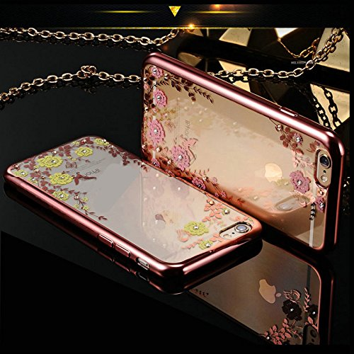Apple iPhone 6 / 6S Élégant Étui - iPhone 6 / 6S Case Housse Or Diamant Etui Tpu Gel - thinkmobile Or Rose