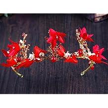 KHSKX-Tocado De Novia Coreana Flores Rojas Venda De La Boda Vestido De Ropa De Pelo Pelo Con Tostadas