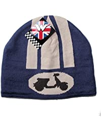 Mens Blue Scooter Beanie with Vespa Scooter Design - Fleece Lined