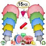 FabQuality 15PCS - Coperchi estensibili in silicone 12pz, con 2 sacchetti regalo di varie dimensioni e forma di contenitori, riutilizzabili, durevoli ed espandibili copertine per alimenti, mantenendo