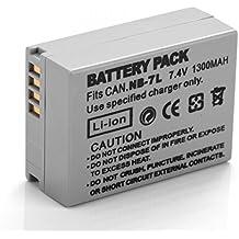 Rusty Bob - Canon NB-7L (1300 mAh) Canon PowerShot G10 G11 G12 G10 11 12 SX30 IS SX30IS sustituye la batería original NB-7L - Sólo la batería