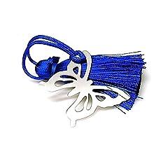 Idea Regalo - 30 millimetri 925m argento segnalibro legge. Farfalla blu pompon [AA7914]