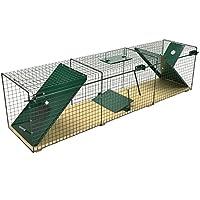 MoorlandSafe 6044 - Trampa Animales Vivos - Gatos Zorros - 116x28x28cm - 2 Entradas - Madera y Alambre