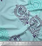 Soimoi Blau Baumwoll-Popeline Stoff Paisley, Blätter und
