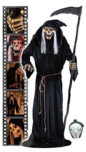SVI Horror Animatronic Lunging Reaper lebensgroßer Sensenmann der nach Ihnen schnappt Halloween Hit USA inkl.Adapter und Pop Eye Keychain