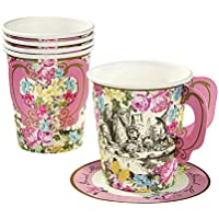 Talking Tables Truly Alice in Wonderland Paper Cup and Saucer for Tea Party, Weddings and Birthday Party, Mad Hatter Party, Multicolour, 9oz (12 Pack)