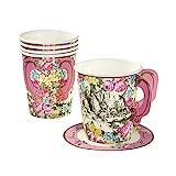 Talking Table Sets de Tasses de The et Soucoupes de Theme Alice Au Pays des Merveilles | Ideal pour Fetes d'anniversaire, fetes de Naissance et Gouter...