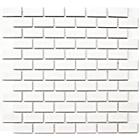 mosaico azulejos cerámica Brick Uni Blanco Mate, 1arco