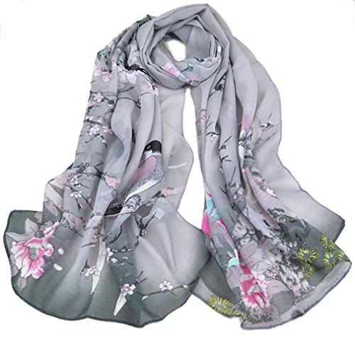 Kavingkaly sciarpe a pois con stampa floreale sciarpe con stampa floreale sciarpe a pois (grigio)