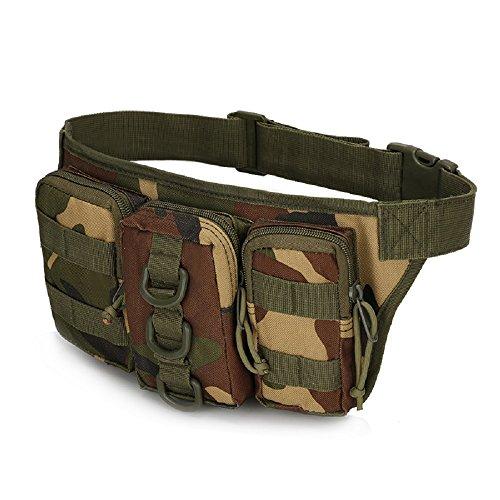 Impermeabile Tactical sport Outdoor borse vita Hip Pacchetto Pochete Uomo Casual Marsupio da escursionismo grande esercito Marsupio, sand camo jungle camo