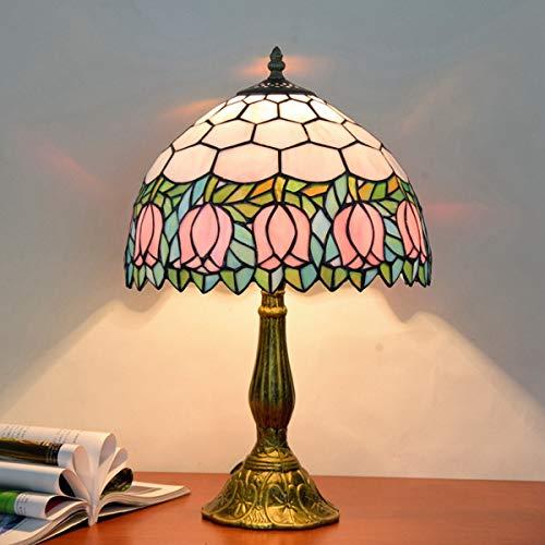 GYLTFL Tiffany Tischlampe,Tiffany Glasmalerei Tischlampe für Wohnzimmer, Esszimmer, Schlafzimmer, Nachttischlampe, Bar Dekoration Lampe, rosa Tulpe -