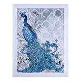 Aobuang Diamond Painting speciale a forma di croce kit fai da te 5D parziale trapano cristallo STRASS ricamo Animal Arts Craft Mosaic for home Wall decorazione Peacock left 35X45cm