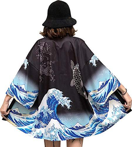 DOVWOER Sommer Damen Kimono 3/4 Ärme Lose Muster Print Bikini Cover Up Leichte Jacke Schwarz/Weiß