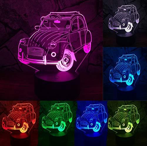 3D Optical Illusion Lampe Led Nachtlicht Nachtlicht Claasic Vintage Car 7 Farbwechsel Lapara Lava Led Lampe Tisch Schreibtisch Nachtlicht Dekor Boy Kid Weihnachten Geburtstagsgeschenk Nachtlicht -